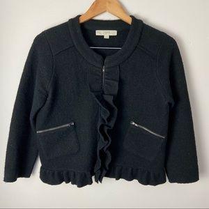 Ann Taylor Loft Blazer Jacket Black Wool Ruffle